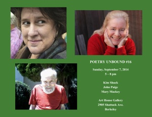 FLYER with HEADSHOTS - Poetry Unbound #16 - September 7 2014